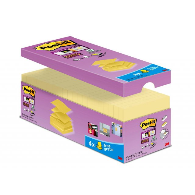 POST-IT SS Z-NOTES  GEEL 76X76 16+4