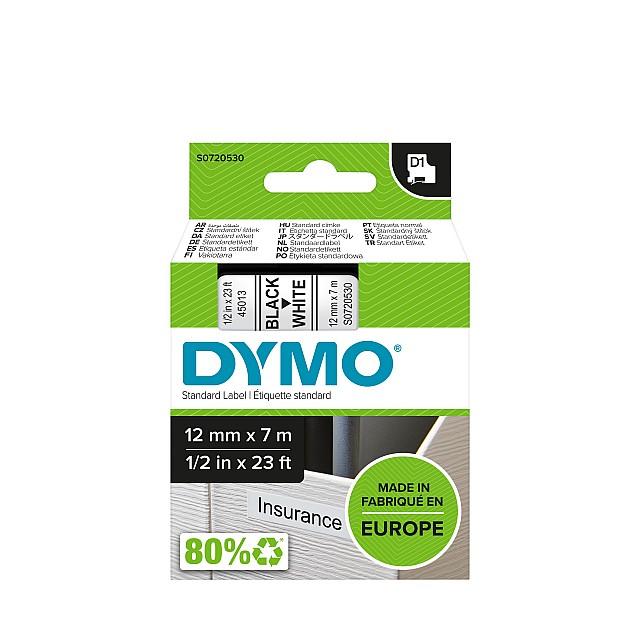 DYMO TAPE 12MM 45013 ZWART/WIT