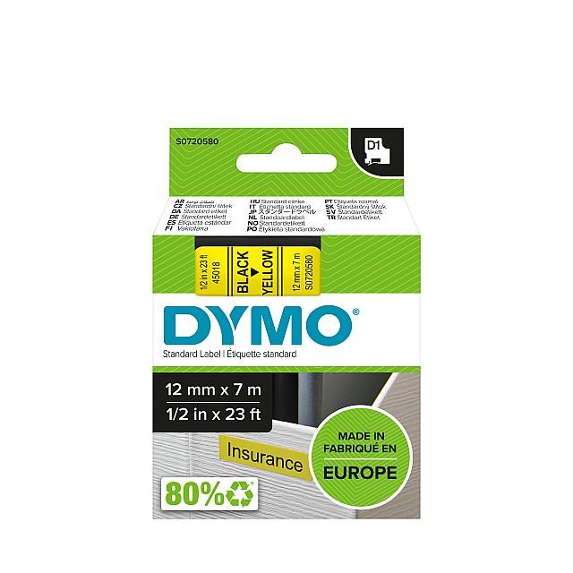 DYMO TAPE 12MM 45018 ZWART/GEEL