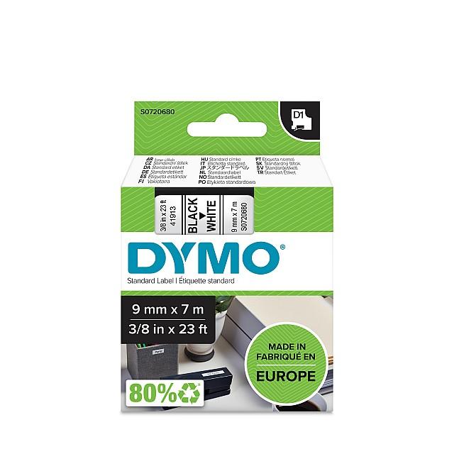 DYMO TAPE 9MM 40913 ZWART/WIT
