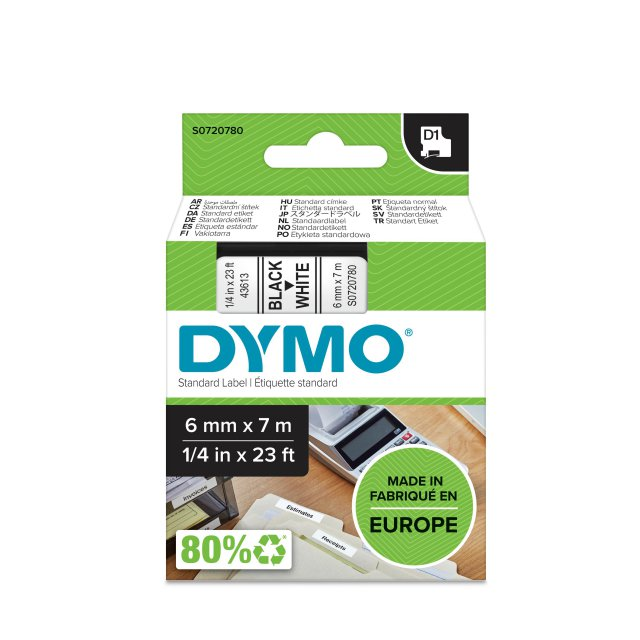 DYMO TAPE 6MM 43613 ZWART/WIT
