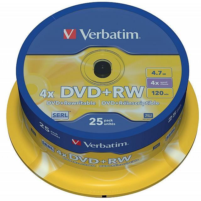 DVD+RW 4,7GB 4X SPINDEL 25X