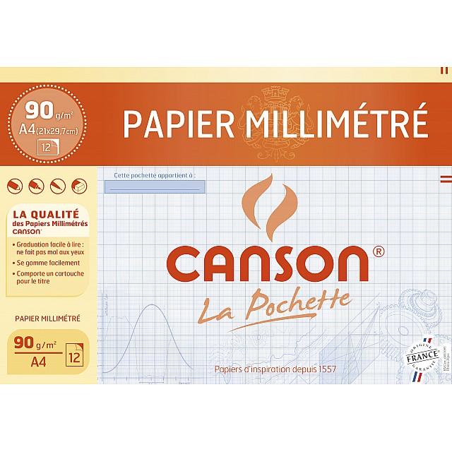 CANSON MILLIMETERPAPIER A4 BLAUW 12V