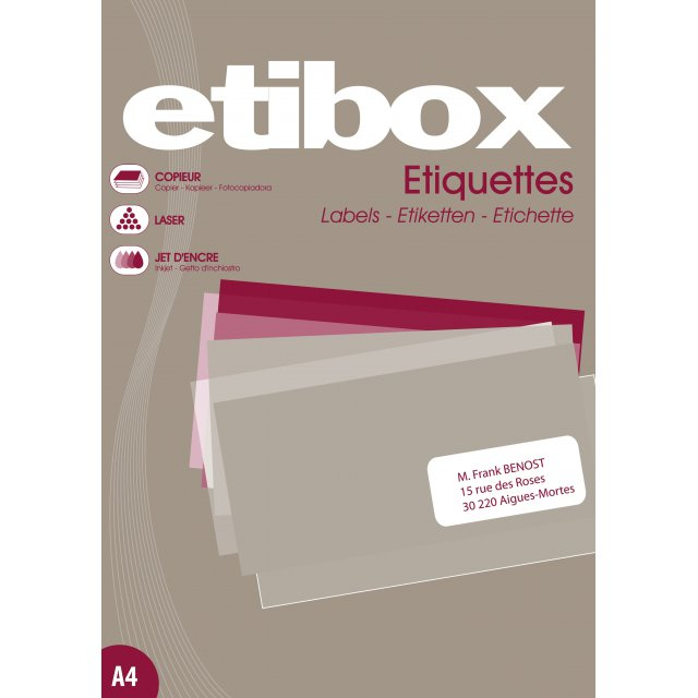 ETIBOX ETIKET 210X297MM 1/BLAD 100V