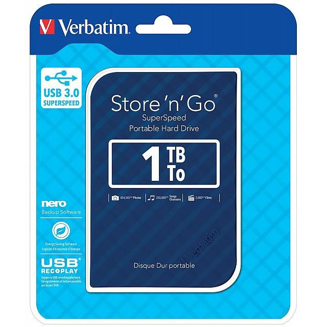 VERBATIM HDD3 1TB BLAUW-STREEP