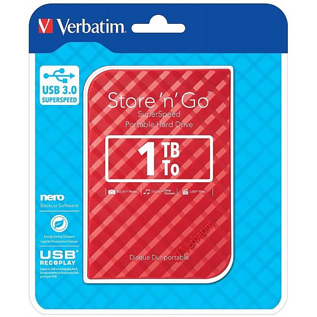 VERBATIM HDD3 1TB ROOD-STREEP
