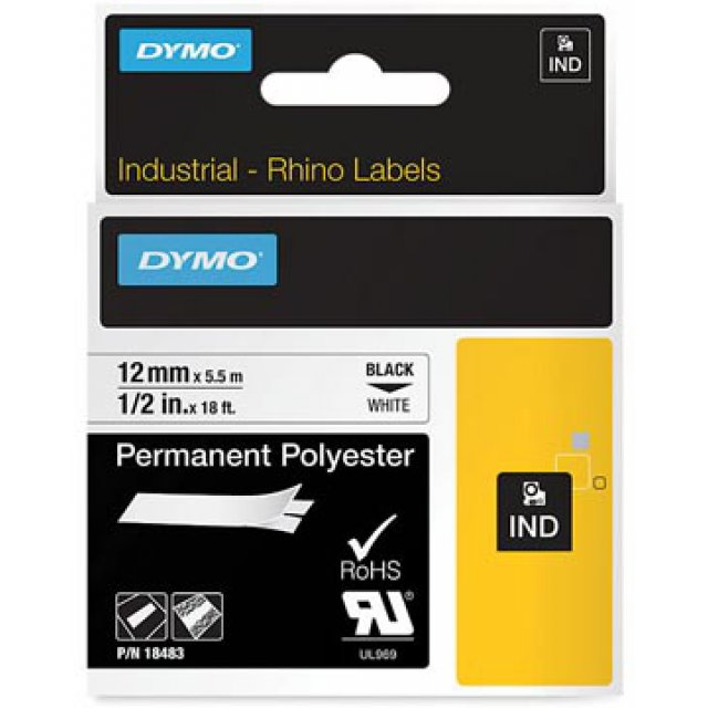 DYMO RHINO TAPE PERM POLYESTER 12MM WIT