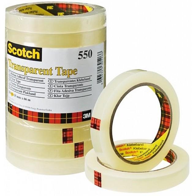 SCOTCH 550 TRANSPARANTE TAPE 15X66 10ST